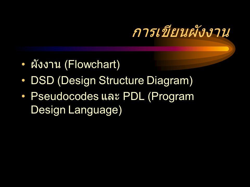การเขียนผังงาน ผังงาน (Flowchart) DSD (Design Structure Diagram)