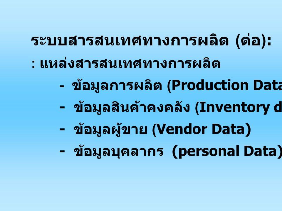 ระบบสารสนเทศทางการผลิต (ต่อ):