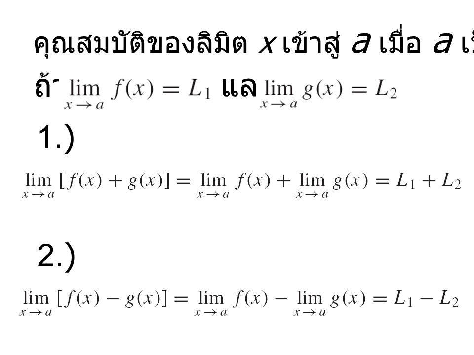 คุณสมบัติของลิมิต x เข้าสู่ a เมื่อ a เป็นจำนวนจริงใดๆ
