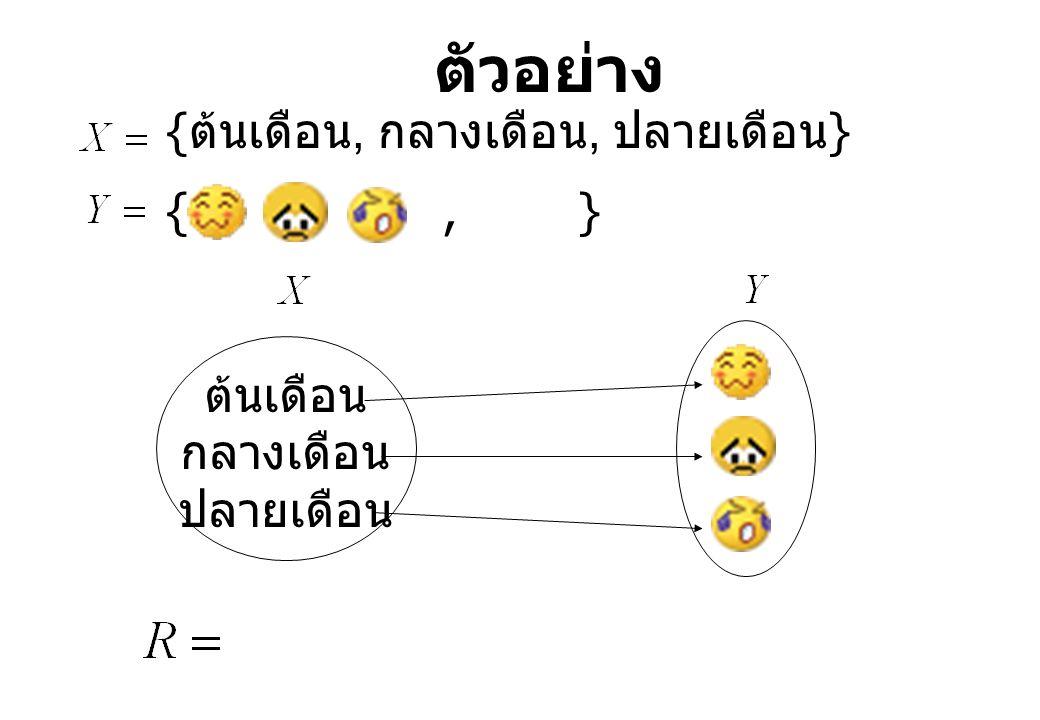 ตัวอย่าง {ต้นเดือน, กลางเดือน, ปลายเดือน} { , , } ต้นเดือน กลางเดือน
