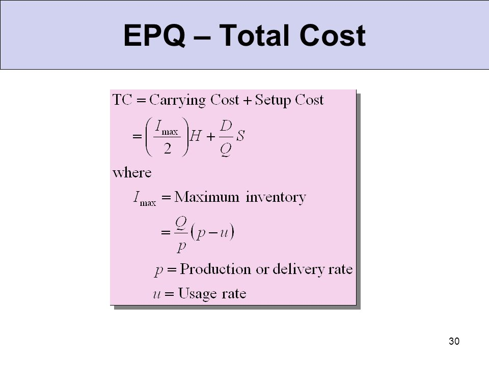 EPQ – Total Cost