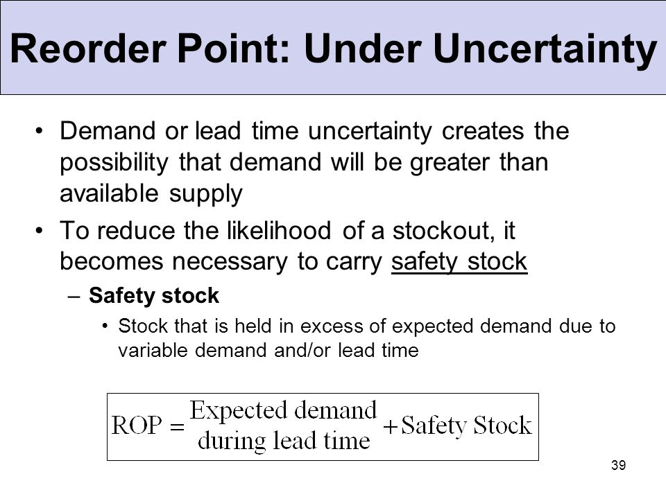 Reorder Point: Under Uncertainty