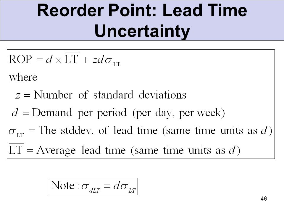Reorder Point: Lead Time Uncertainty