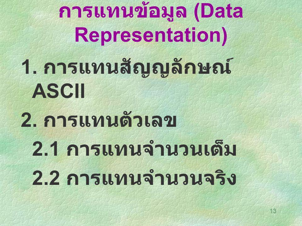 การแทนข้อมูล (Data Representation)