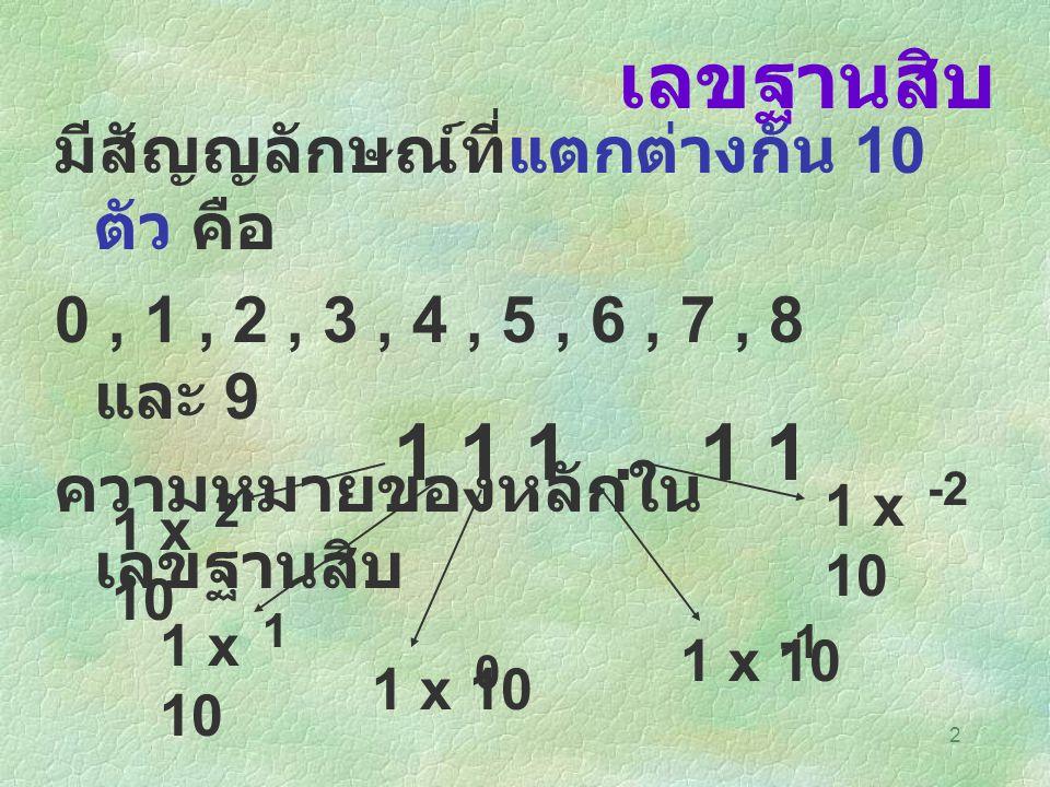 เลขฐานสิบ 1 1 1 . 1 1 มีสัญญลักษณ์ที่แตกต่างกัน 10 ตัว คือ
