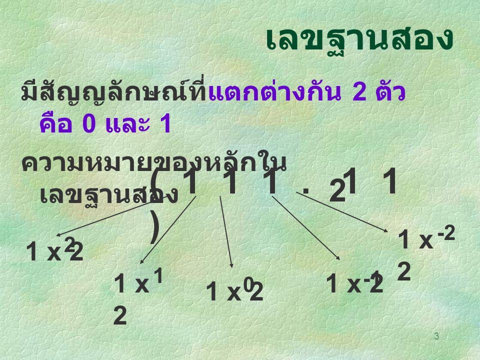 เลขฐานสอง มีสัญญลักษณ์ที่แตกต่างกัน 2 ตัว คือ 0 และ 1. ความหมายของหลักในเลขฐานสอง. ( 1 1 1 . 1 1 )