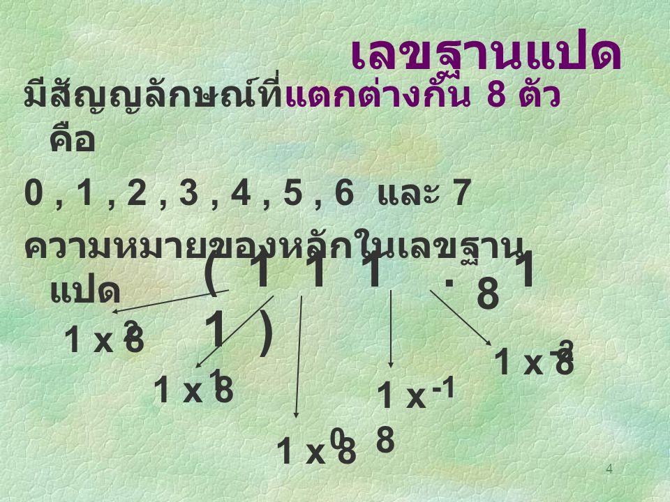 เลขฐานแปด ( 1 1 1 . 1 1 ) 8 มีสัญญลักษณ์ที่แตกต่างกัน 8 ตัว คือ