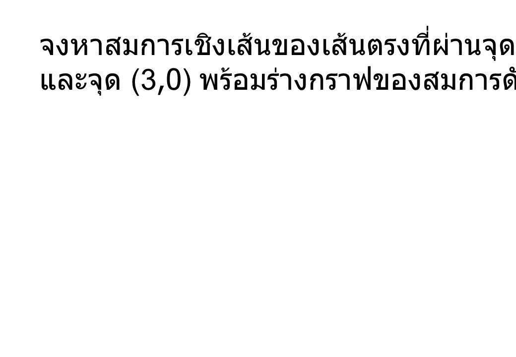 จงหาสมการเชิงเส้นของเส้นตรงที่ผ่านจุด (1,1)