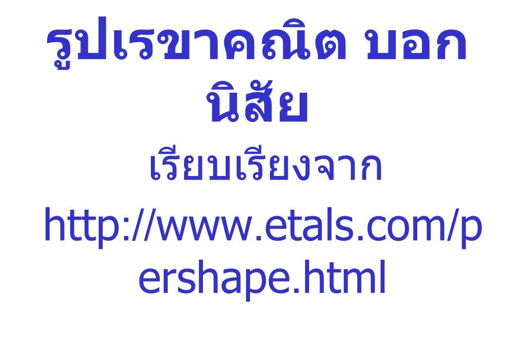 รูปเรขาคณิต บอกนิสัย เรียบเรียงจาก http://www.etals.com/pershape.html