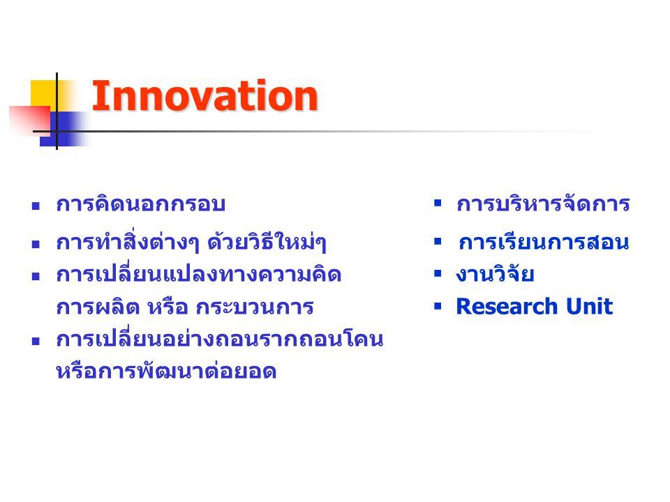 Innovation การคิดนอกกรอบ  การบริหารจัดการ