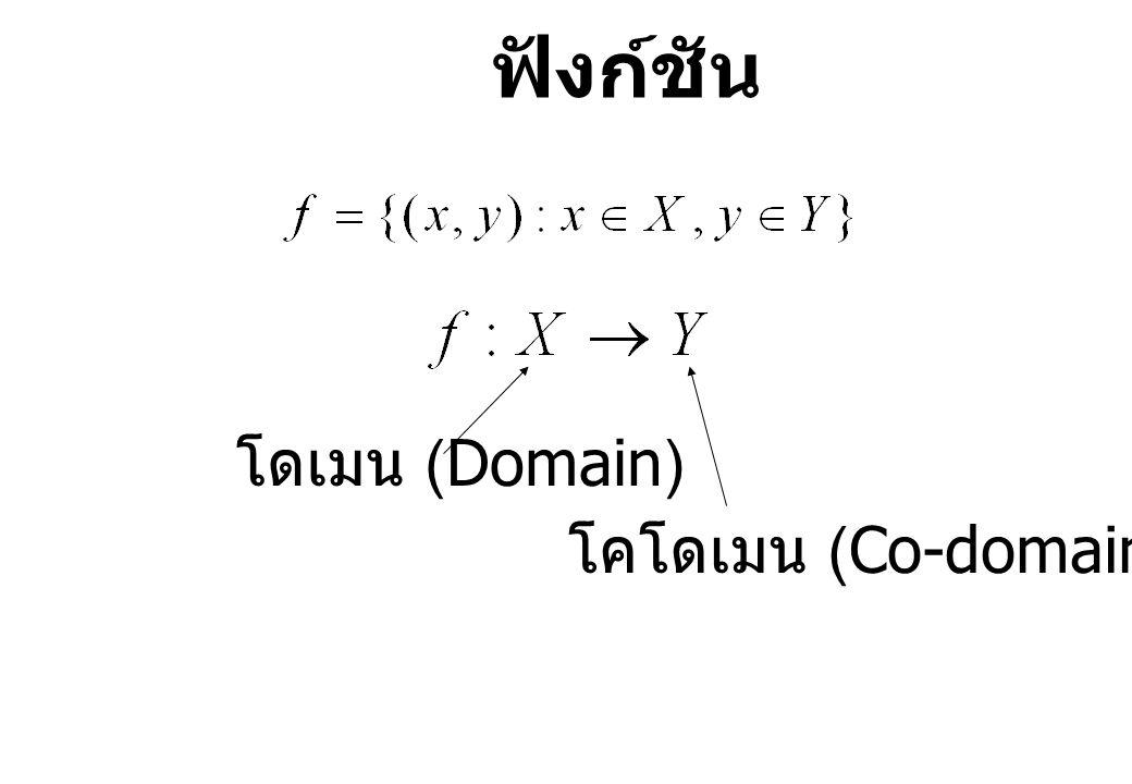 ฟังก์ชัน โดเมน (Domain) โคโดเมน (Co-domain)