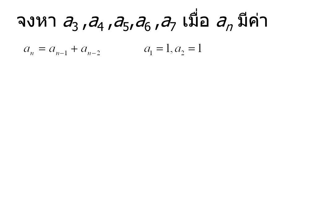 จงหา a3 ,a4 ,a5,a6 ,a7 เมื่อ an มีค่า