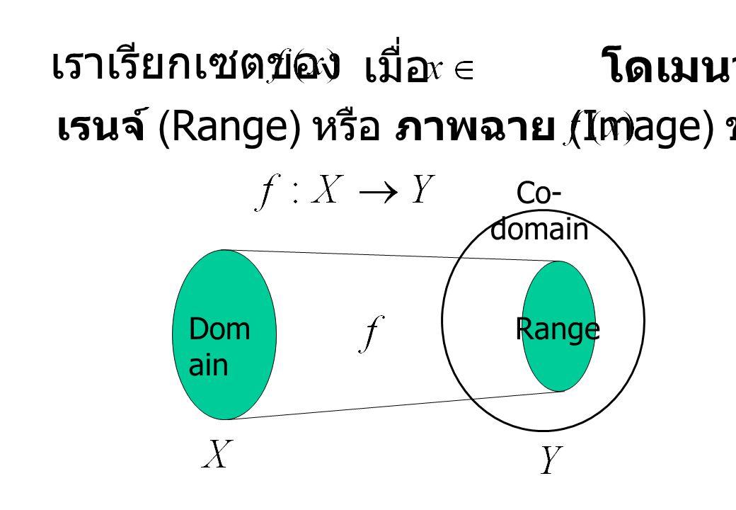 เราเรียกเซตของ เมื่อ โดเมนว่า เรนจ์ (Range) หรือ ภาพฉาย (Image) ของ