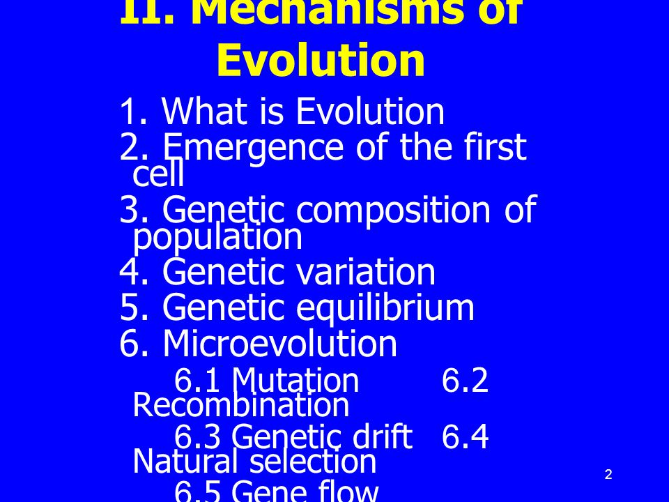 II. Mechanisms of Evolution