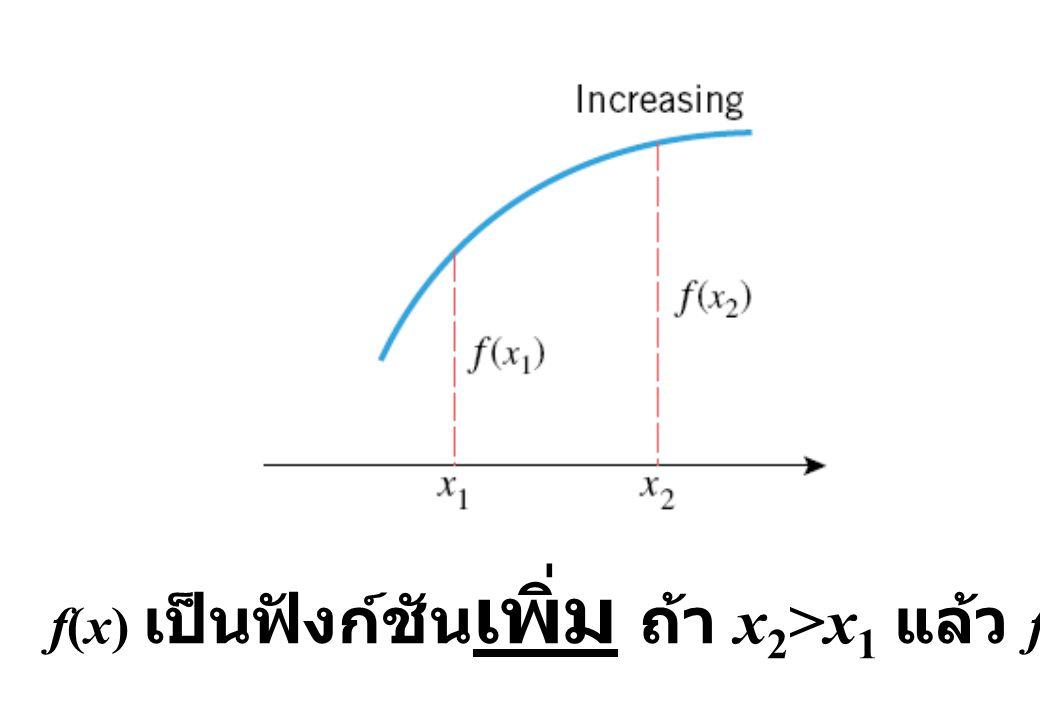f(x) เป็นฟังก์ชันเพิ่ม ถ้า x2>x1 แล้ว f(x2)>f(x1)