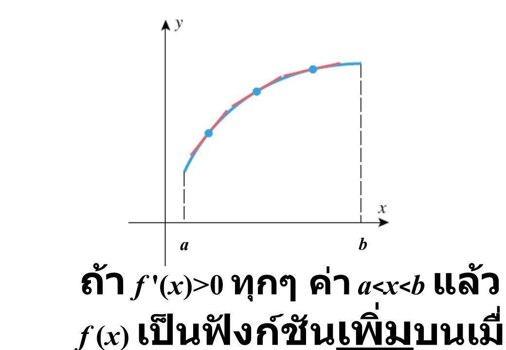 ถ้า f (x)>0 ทุกๆ ค่า a<x<b แล้ว