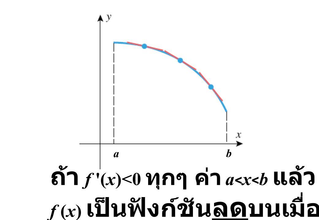 ถ้า f (x)<0 ทุกๆ ค่า a<x<b แล้ว