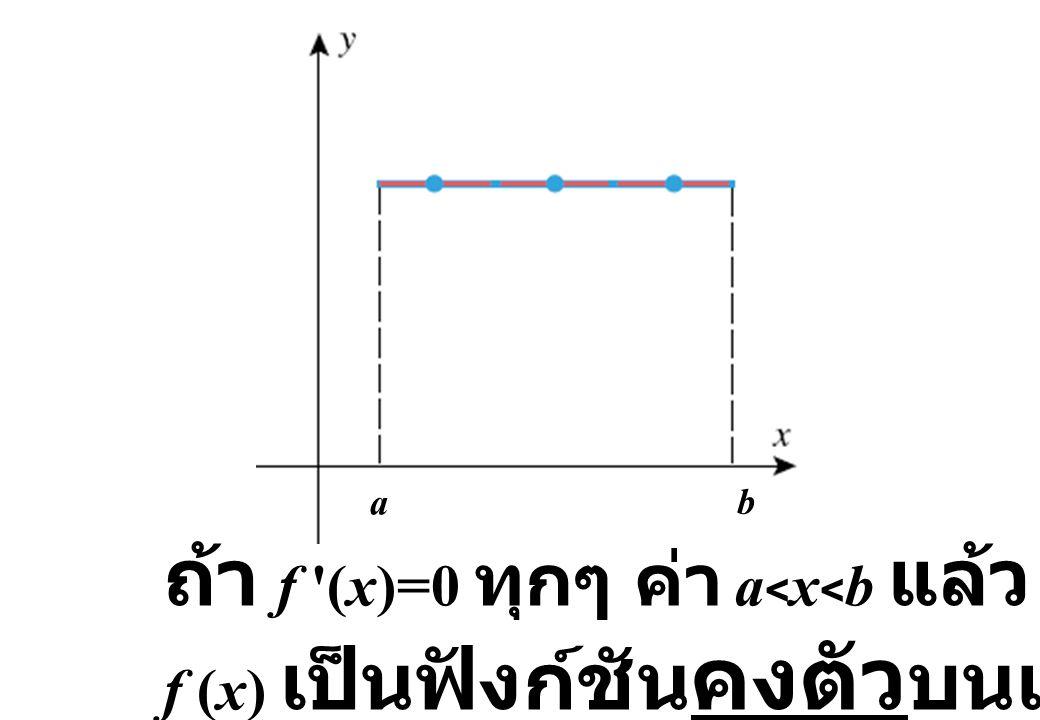 ถ้า f (x)=0 ทุกๆ ค่า a<x<b แล้ว