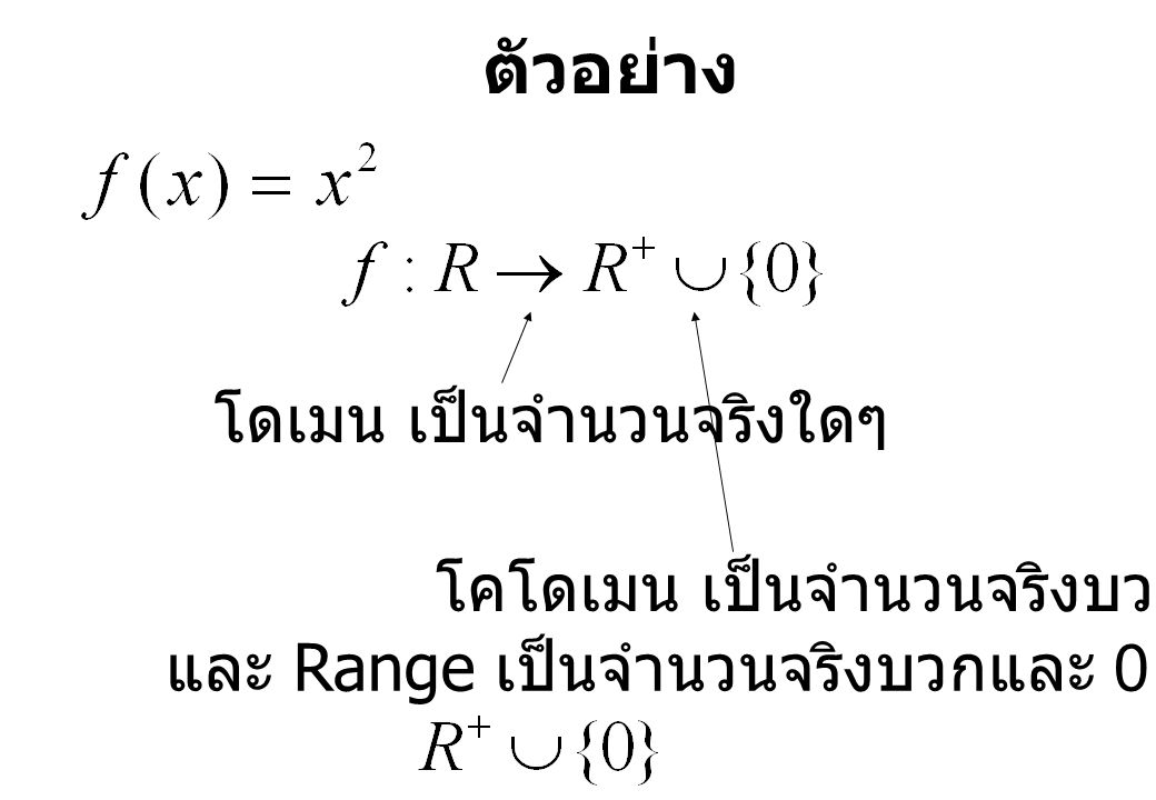 ตัวอย่าง โดเมน เป็นจำนวนจริงใดๆ โคโดเมน เป็นจำนวนจริงบวกและ 0