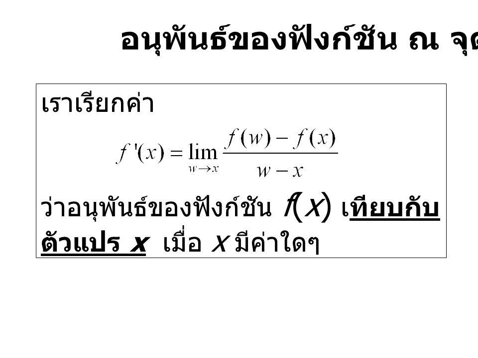 อนุพันธ์ของฟังก์ชัน ณ จุด x ใดๆ