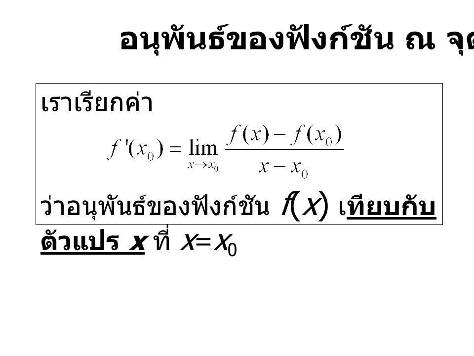 อนุพันธ์ของฟังก์ชัน ณ จุด x=x0