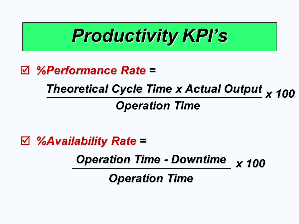 Theoretical Cycle Time x Actual Output Operation Time - Downtime