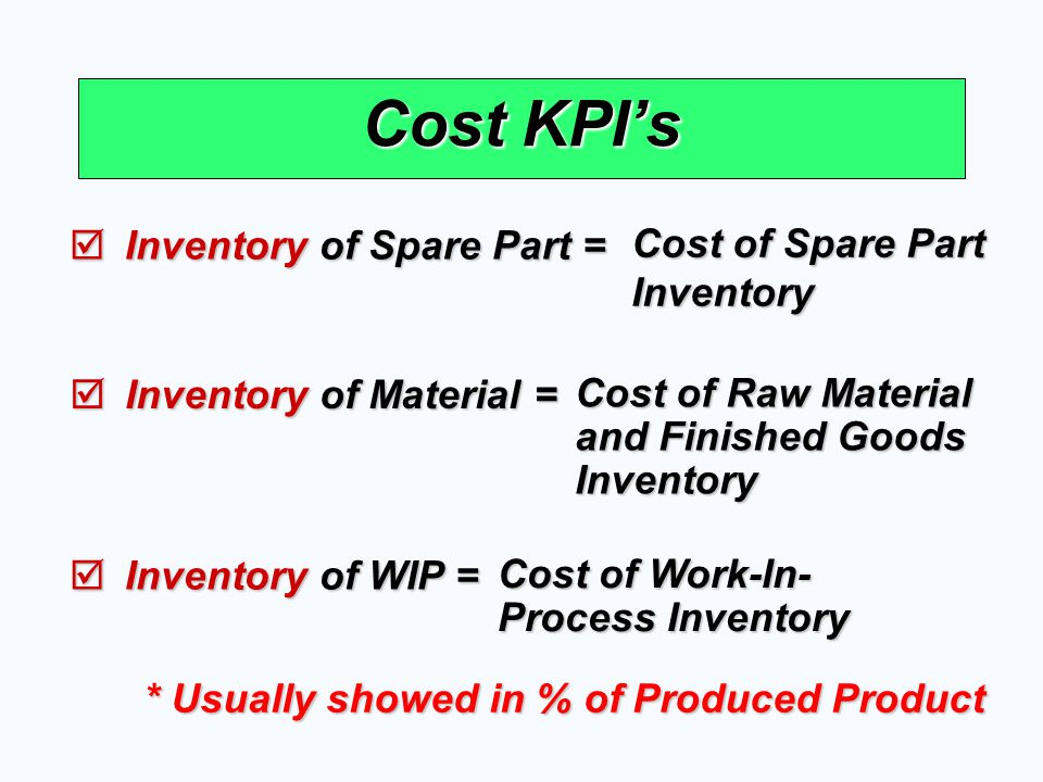 Cost KPI's Cost of Spare Part Inventory Inventory of Spare Part =