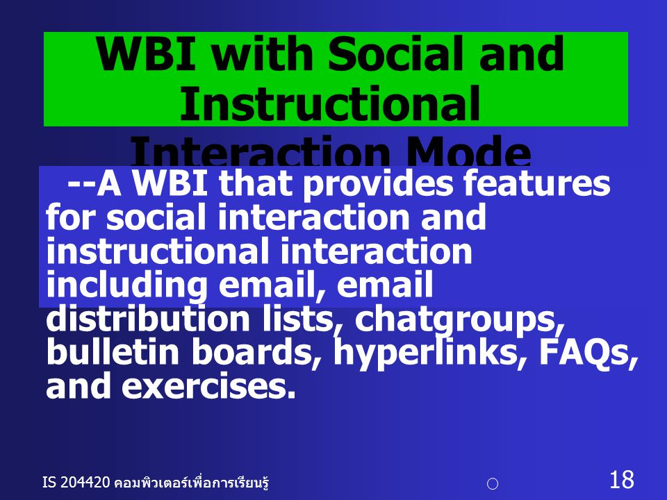WBI with Social and Instructional Interaction Mode