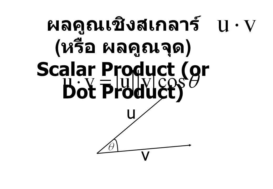 ผลคูณเชิงสเกลาร์ (หรือ ผลคูณจุด) Scalar Product (or Dot Product)