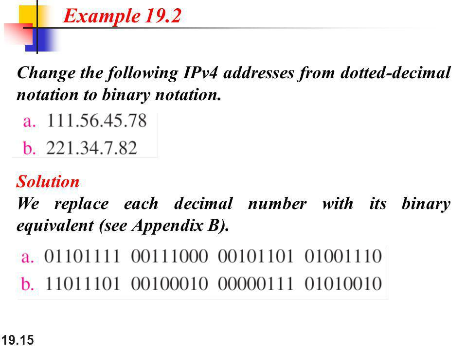 Example 19.2 Change the following IPv4 addresses from dotted-decimal notation to binary notation. Solution.