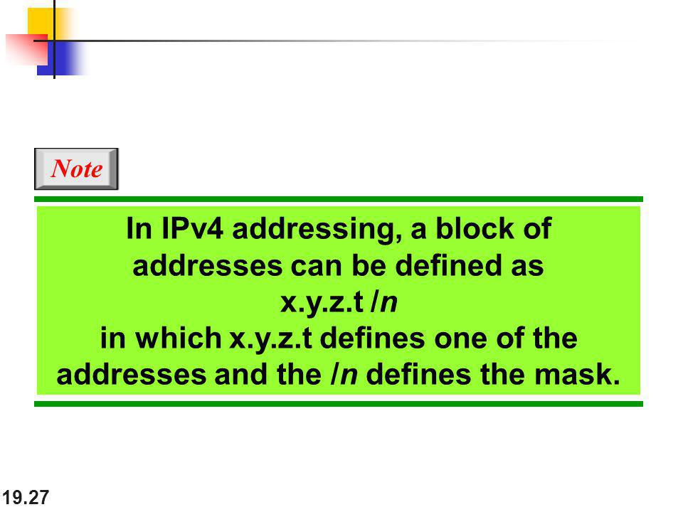 In IPv4 addressing, a block of addresses can be defined as