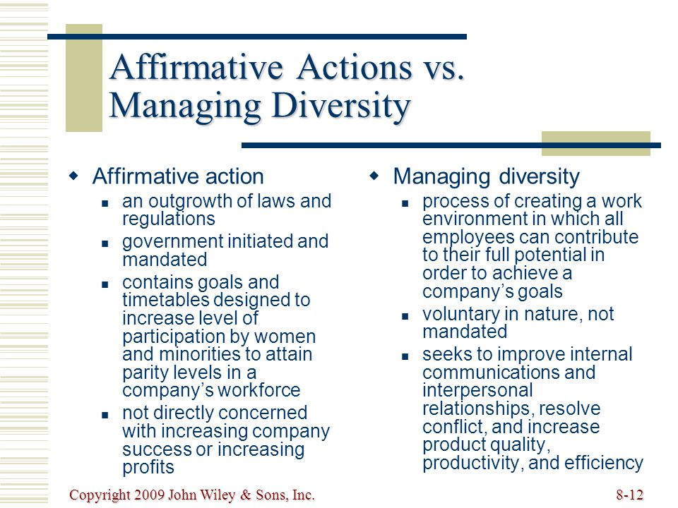 Affirmative Actions vs. Managing Diversity