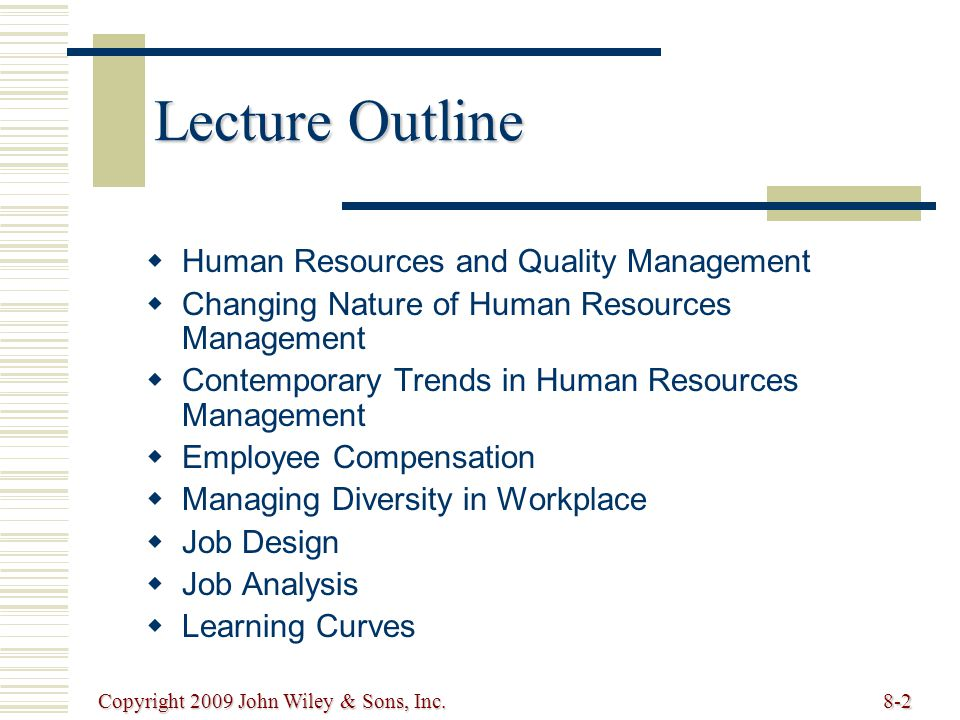 Lecture Outline Human Resources and Quality Management