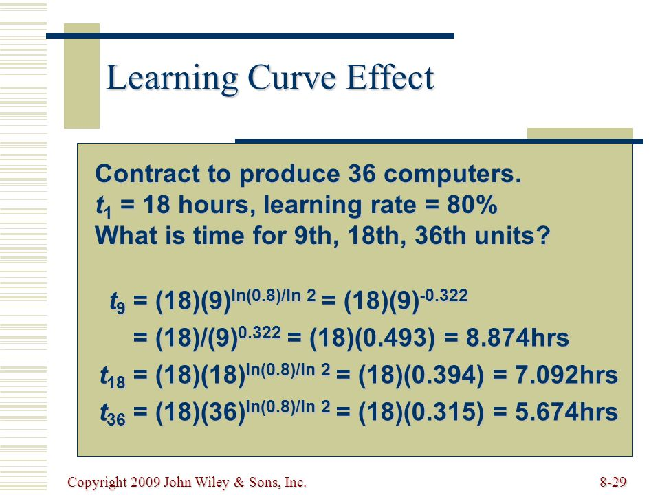 Learning Curve Effect Contract to produce 36 computers.