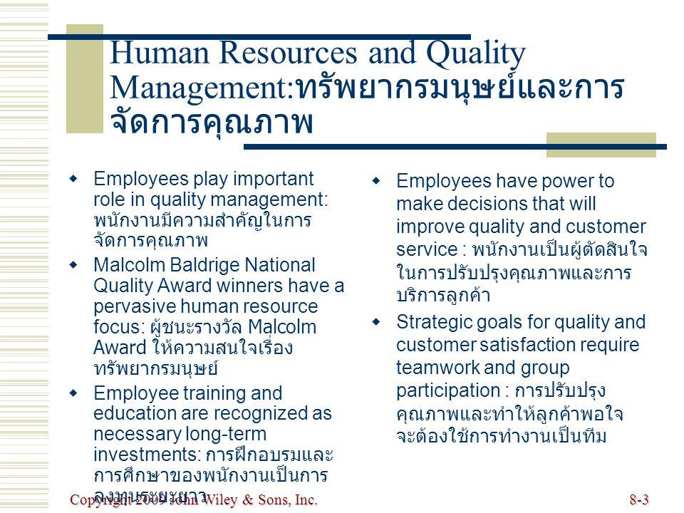 Human Resources and Quality Management:ทรัพยากรมนุษย์และการจัดการคุณภาพ