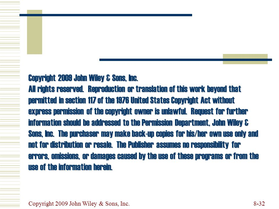 Copyright 2009 John Wiley & Sons, Inc. All rights reserved