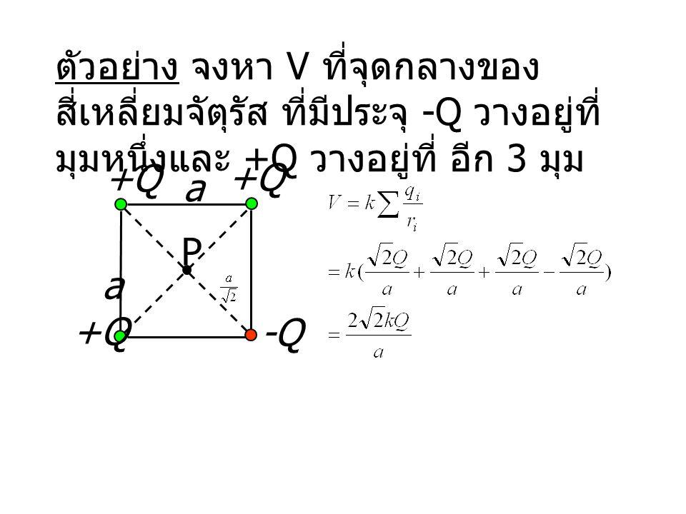 ตัวอย่าง จงหา V ที่จุดกลางของสี่เหลี่ยมจัตุรัส ที่มีประจุ -Q วางอยู่ที่มุมหนึ่งและ +Q วางอยู่ที่ อีก 3 มุม