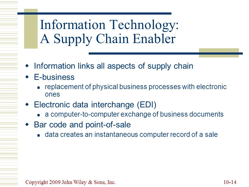 Information Technology: A Supply Chain Enabler