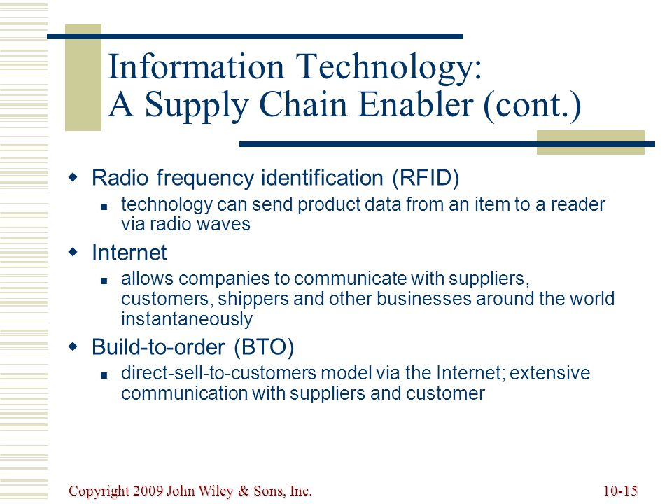 Information Technology: A Supply Chain Enabler (cont.)