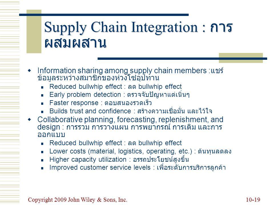 Supply Chain Integration : การผสมผสาน