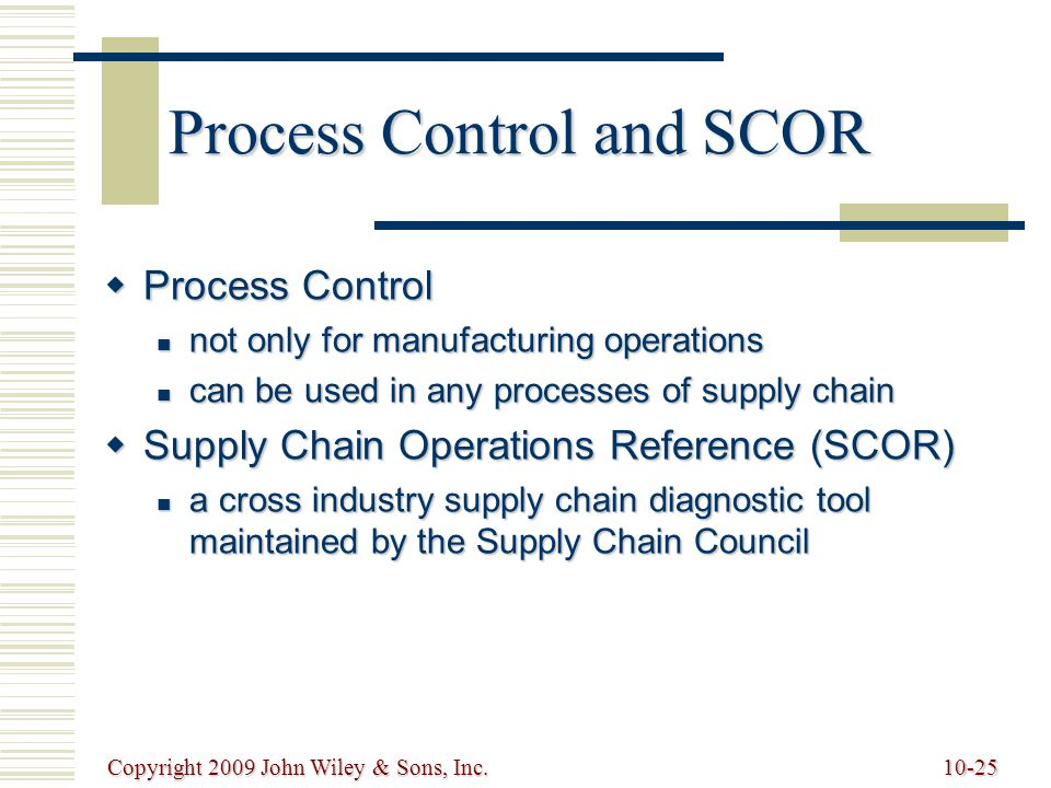 Process Control and SCOR