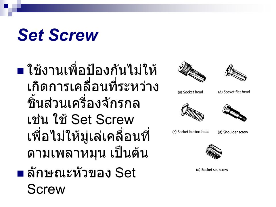 Set Screw ใช้งานเพื่อป้องกันไม่ให้เกิดการเคลื่อนที่ระหว่างชิ้นส่วนเครื่องจักรกล เช่น ใช้ Set Screw เพื่อไม่ให้มู่เล่เคลื่อนที่ตามเพลาหมุน เป็นต้น.