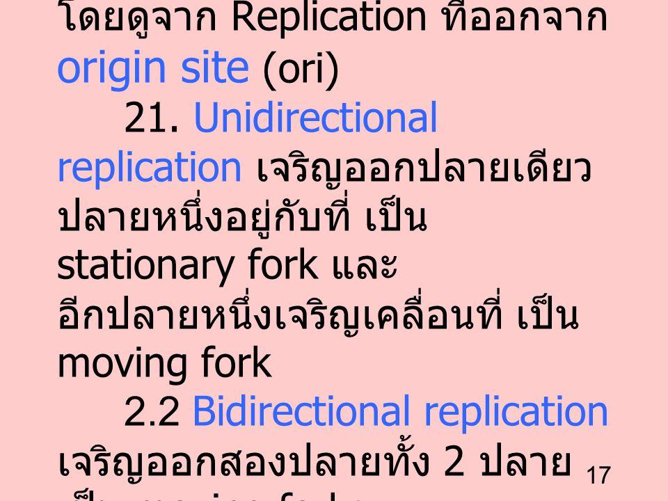 2. การเจริญของสายลูก ได้ 2 ทาง โดยดูจาก Replication ที่ออกจาก origin site (ori) 21.