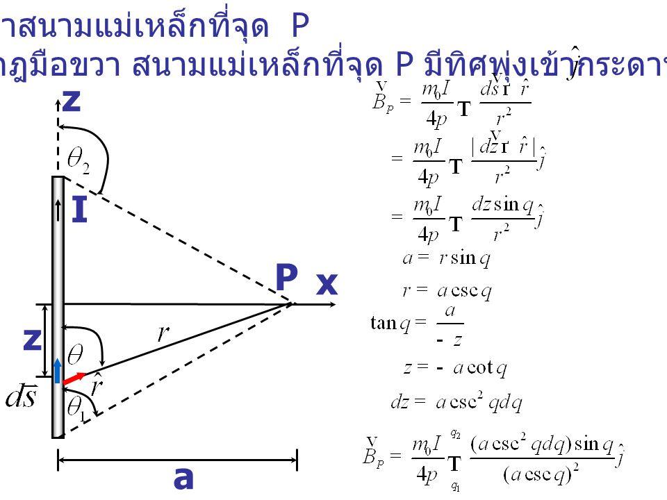 z I P x z a จงหาสนามแม่เหล็กที่จุด P