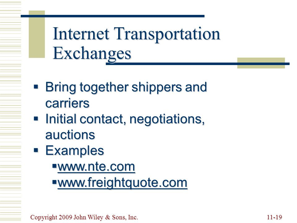 Internet Transportation Exchanges