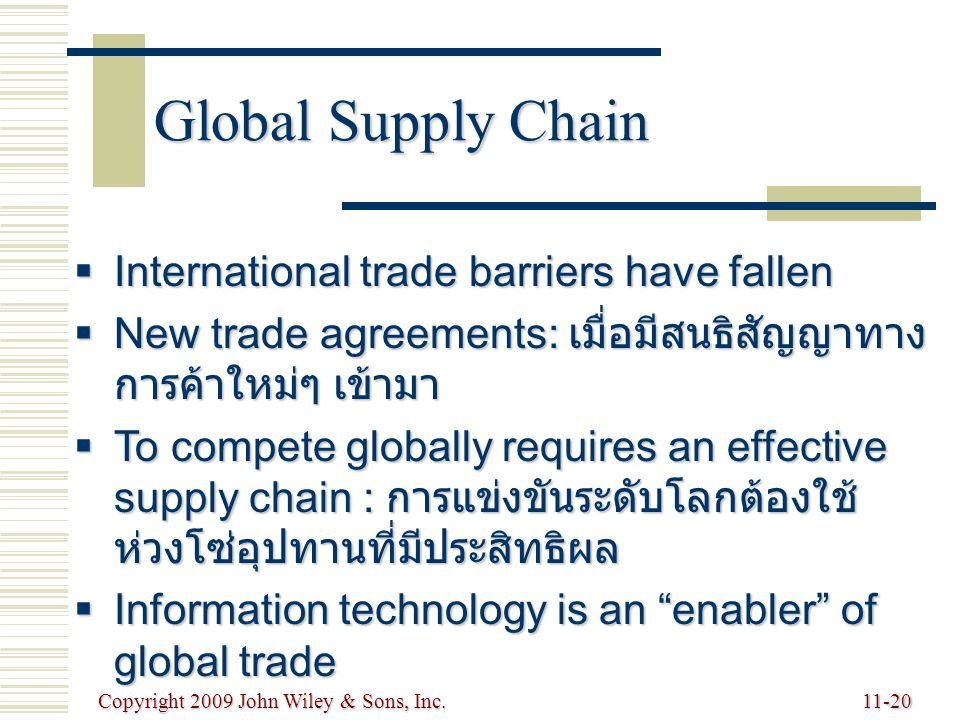 Global Supply Chain International trade barriers have fallen