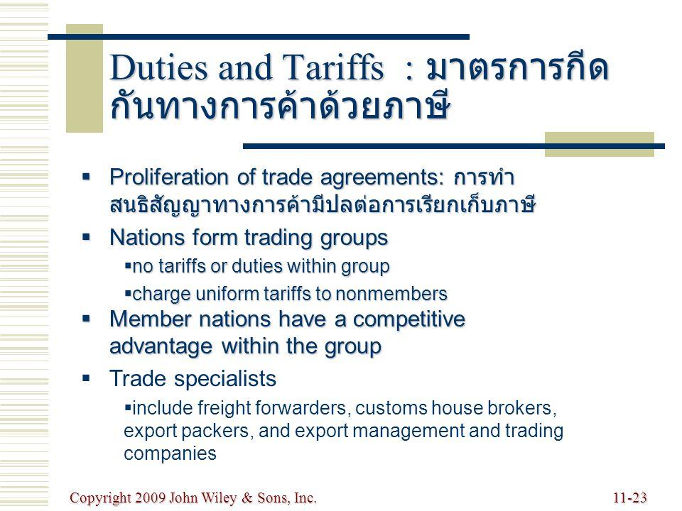 Duties and Tariffs : มาตรการกีดกันทางการค้าด้วยภาษี