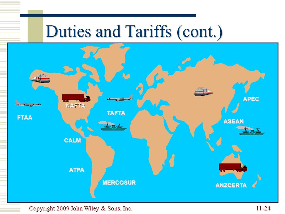 Duties and Tariffs (cont.)