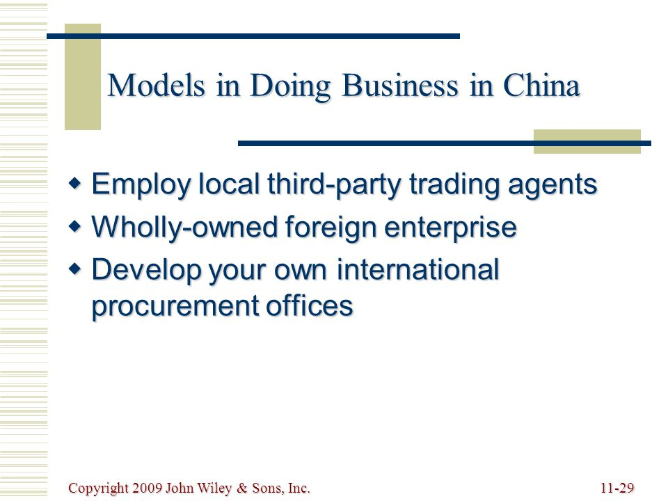 Models in Doing Business in China