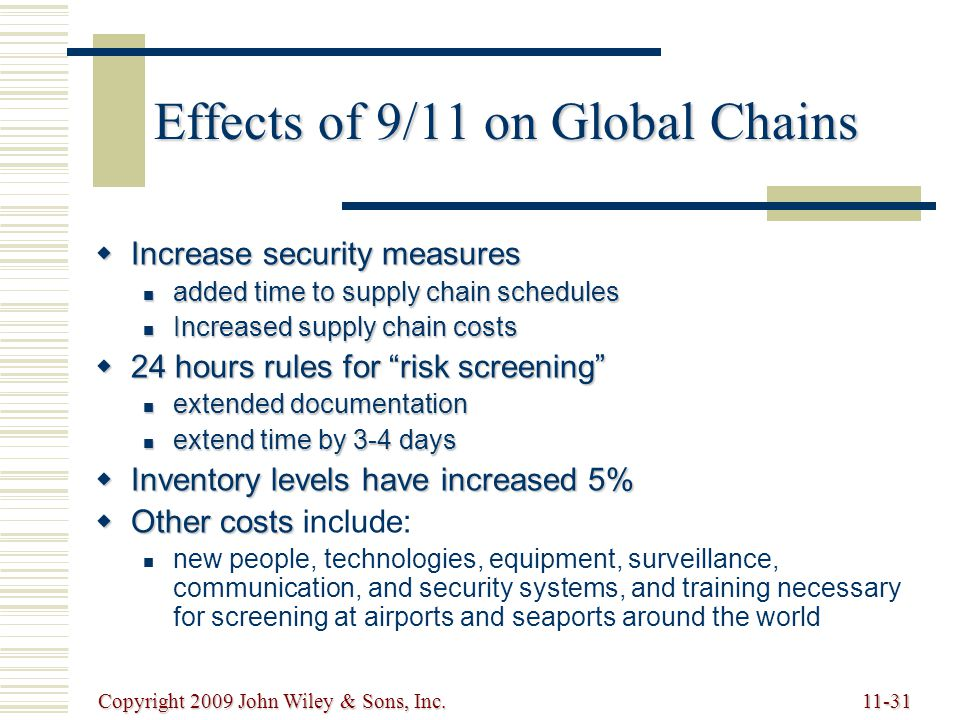 Effects of 9/11 on Global Chains
